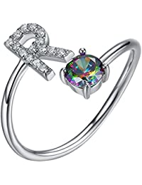 SILVERCUTE Sterling Silver Ring Alphabet Initial Jewelry Mystic CZ End Open Rings, Letter A to Z