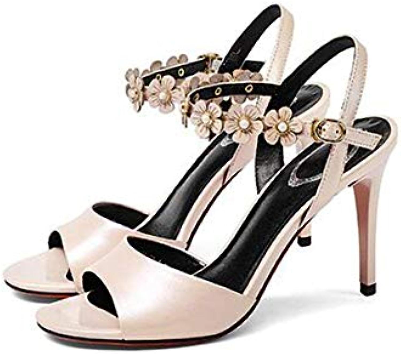 Oudan Sandals High Heels 9CM Summer Flower Sandali Fibbia Fibbia Fibbia ad Un Bottone (Bianco Nero   rosa) (Coloreee   rosa, Dimensione... | Di Alta Qualità  bbaef7