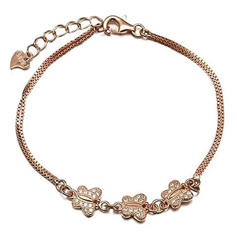AMDXD Bijoux Plaqué Argent Bracelets de Liaison pour Femme Papillon Or Rose 16CM