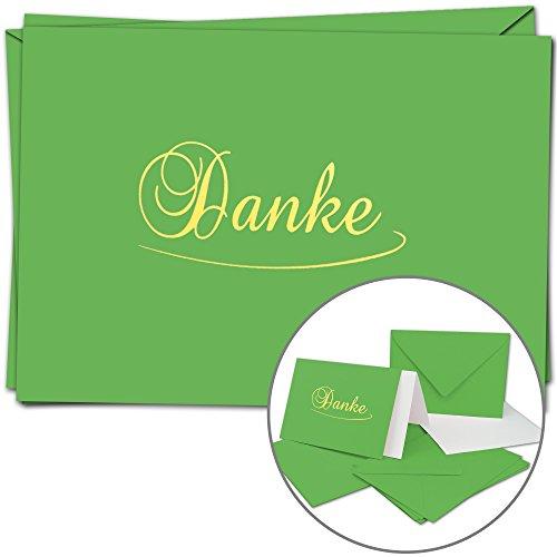 5 Dankeskarten im Set - DIN A6 - Danke Komplett-Set aus Doppelkarte & Umschläge & Einleger, stilvolle & Schlichte Danksagung - Hell-Grüne Karten und Hüllen mit Gold-metallic Schrift