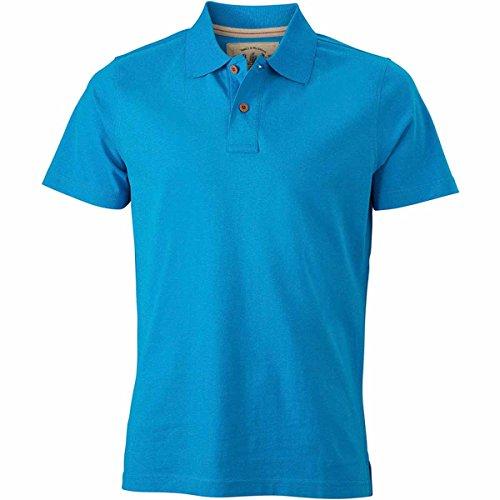 JAMES & NICHOLSON -  Polo  - Basic - Con bottoni  - Maniche corte  - Uomo Bleu turquoise
