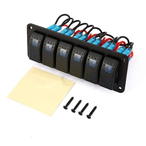 Elviray 6 Gang Wippschalter für Auto Marine Boot Schalter Panel Led Aluminiumplatte LED-Licht Wippschalter Panel Stromkreis (Led 12 Rv-lichter)