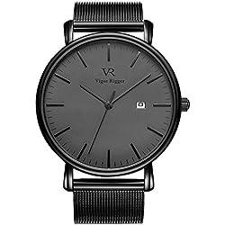 Reloj de pulsera negro ultra delgado BUREI para mujer con calendario de fecha y banda de malla milanesa (Gris-Negro)