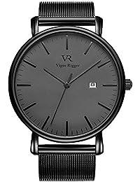 Vigor Rigger Relojes para Hombres Reloj de Pulsera Negro Ultra Delgado para  Mujeres con Calendario de 7453367e06cc