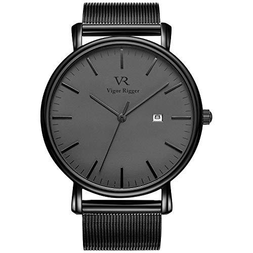 Vigor Rigger Montres Hommes Montre Bracelet Noire pour Femme Ultra Slim avec Affichage du Calendrier et Bracelet maillé Noir