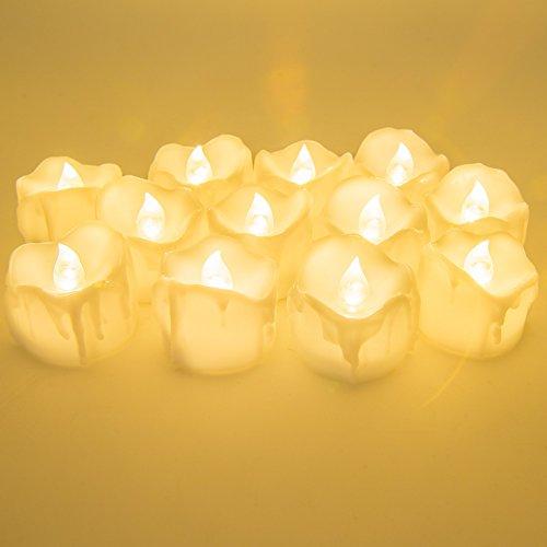 LED Velas de té de, Nueva versión pchero batteriebetriebenes LED de té luz batería Alimentado por LED sin llama de vela de luz (Luz Continua & flicke Ring Light)