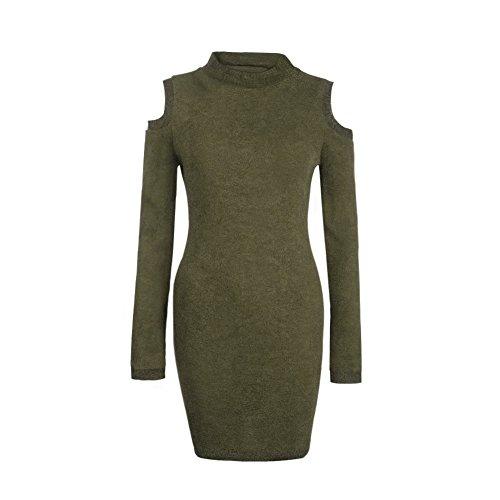 La Cabina Femme Robe Tricoter Pull -over Confortable Dérèglement avec Collet Rond ,Coton à Manches Longues pour Automne Hiver (36-42) Vert