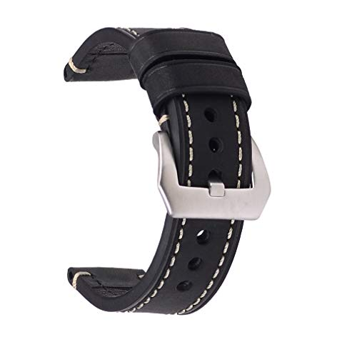 24mm Vegetable-Tanned Watch Strap,EACHE Genuine Leather Handmade Watch Band,Red Brown-Silver Hardware