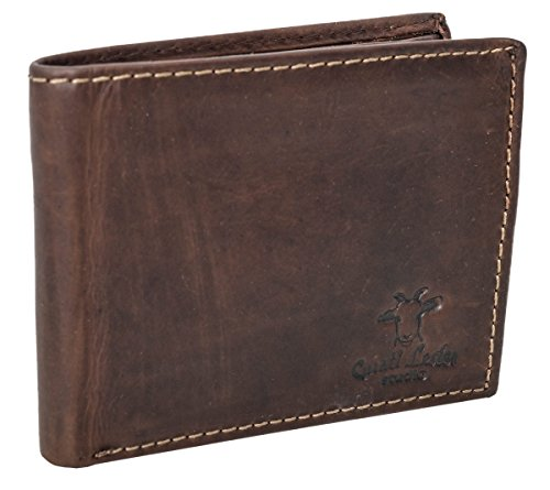 Geldbörse Leder Gusti studio Pawel Portemonnaie Portmonee Echtleder Büffellder Herren Braun Dunkelbraun (Indien Geldbörse)