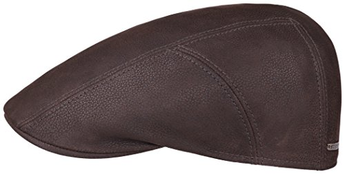 Stetson Michigan Ivy Cap Chevrette Flatcap aus Leder - braun 60 (Ivy Cap Stetson Baumwolle)