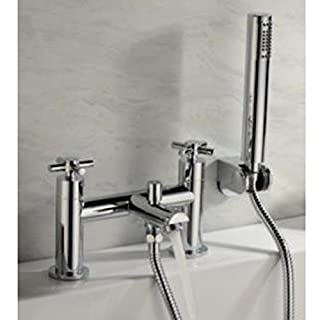 Alfred Victoria Modern Bath Shower Brass Mixer with Shower Kit I04 - Chrome Finish