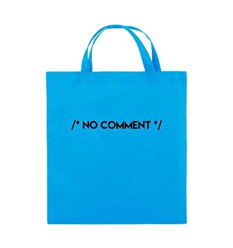 Comedy Bags - NO COMMENT - Jutebeutel - kurze Henkel - 38x42cm - Farbe: Schwarz / Pink Hellblau / Schwarz