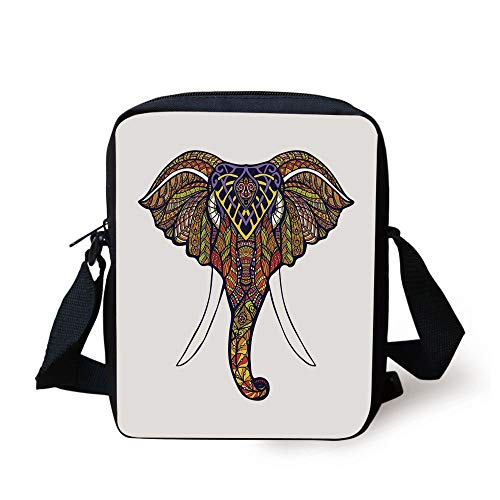 943153dad8fc Elephant Mandala,Elephant Head with Colorful Hand Drawn Ornaments African  Tribal Motifs,Multicolor Print Kids Crossbody Messenger Bag Purse