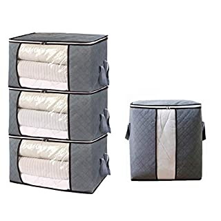 4pcs Clothing Storage Bags Organizers Thick Foldable Organization Bags with Large Clear View Window & Carry Handles for Clothes Blanket Closet under bed, dorn room, Bedrooms