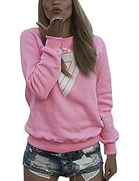 566820aa9351 FuweiEncore Damen Sweatshirt Hoodie Lose Lässige Pullover Langer Rundhal  mit Buchstaben Mit Kapuze Tops Bluse Elegante