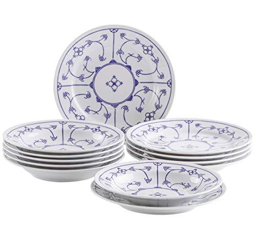 (Kahla 160620O75019H Blau Saks Geschirrset Porzellan Tafelservice Tellerset für 6 Personen 12-teilig Suppenteller 22 cm Speiseteller 23,5 cm Teller Set blauweiß rund)