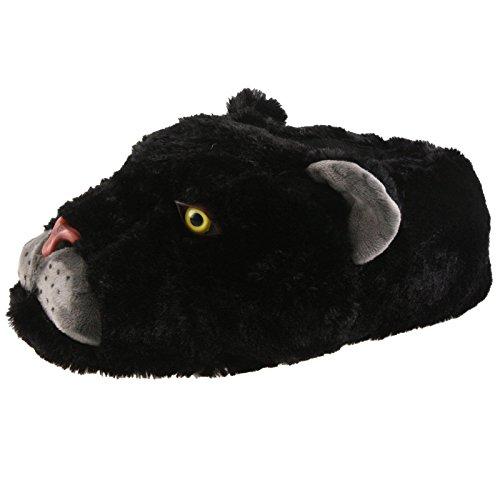SAMs Black Panther Tier Hausschuhe Pantoffel Puschen Schlappen Kuscheltier Plüsch Herren Schwarz 35-46, TH-RaubkatzePanther, Größe 37-39