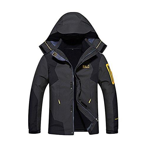 Gitvienar giacca da outdoor da uomo 3in 1, realizzata in softshell, calda, impermeabile al vento e traspirante, ideale per sci e scalate e come abbigliamento da cantiere, colore: mimetico, uomo, nero, eu 4xl (brustumfang:132 cm)