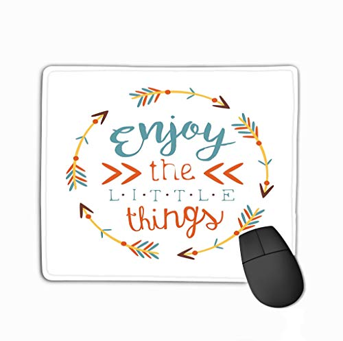 Family Mouse Pad,Standard Size Rectangle Non-Slip Rubber Mousepad 11.81 X 9.84 Inch Ethnic Boho Style Element Print Hipster Fashion Design Template Blue Yellow red Arrows Circle -