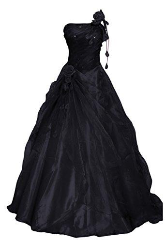 Romantic-Fashion Damen Ballkleid Abendkleid Brautkleid Lang Modell E232 A-Linie Blüten Perlen Pailletten DE Schwarz Größe 52