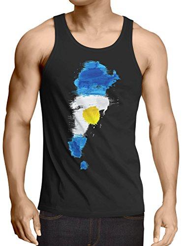 CottonCloud Flagge Argentinien Herren Tank Top Fußball Sport Argentina WM EM Fahne, Größe:M, Farbe:Schwarz