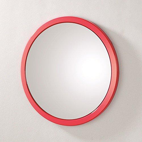 Wandspiegel rund mit rotem Rahmen aus MDF; Maße (B/T/H) in cm: 38 x 2 x 38