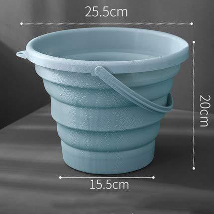 5l Anhänger (SSDHY Eimer Falteimer Kunststoff Haushalt Autowaschanlage Angelgerät Tragbare Badewanne Kunstspeicher Wasser LKW Anhänger Kücheneimer, Hellblau, 5L)