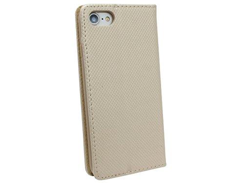 Iphone 8 // Buchtasche Hülle Case Tasche Wallet BookStyle mit STANDFUNKTION in Schwarz @ Energmix Gold