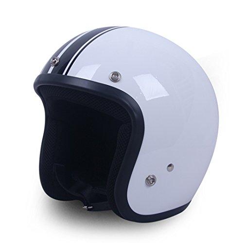 CASCOEN Specchietto Silver Chrome Vespa Open Face Casco moto da moto Harley Caschi moto retro Casco 4 XXL