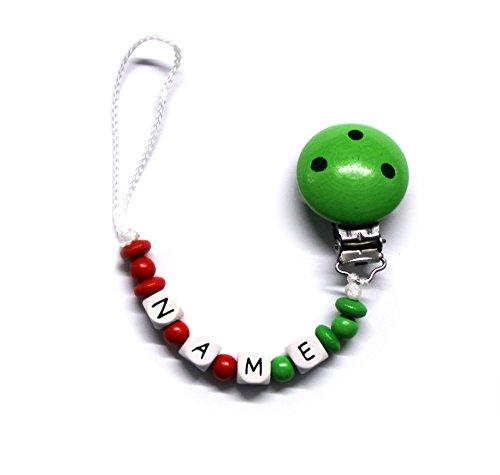 Baby Schnullerkette mit Perlen aus Holz und Wunschname. Italien - Italy bis 10 Buchstaben (FRANCESCA) -