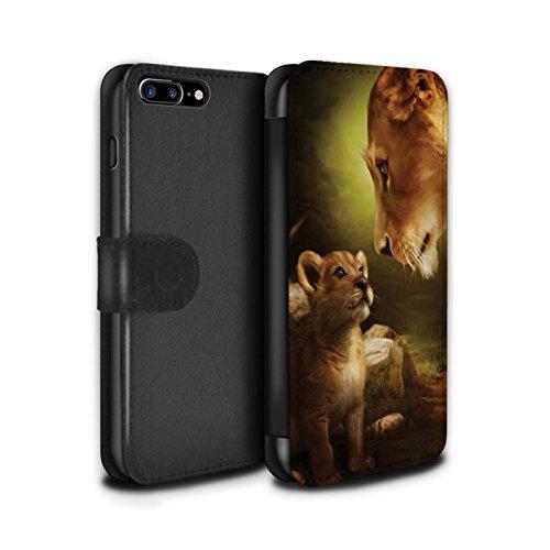 Officiel Elena Dudina Coque/Etui/Housse Cuir PU Case/Cover pour Apple iPhone 8 Plus / Oui Maman/Lion/Petit Design / Les Animaux Collection Oui Maman/Lion/Petit