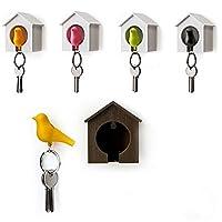 Dandeliondeme Bird House Designed Nest Key Holder Chain Ring Keychain Keyring Hanger Set for Kitchen Bathrooms Wall Lavatory Closets