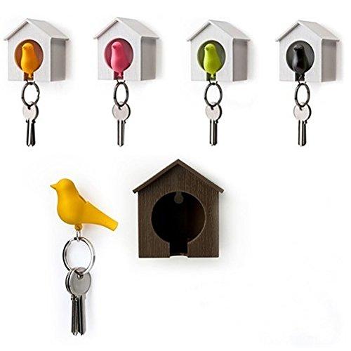 Dandeliondeme Vogelhaus Design Nest Schlüsselhalter Kette Ring Schlüsselanhänger-Set für Küche Badezimmer Wand WC Schrank -