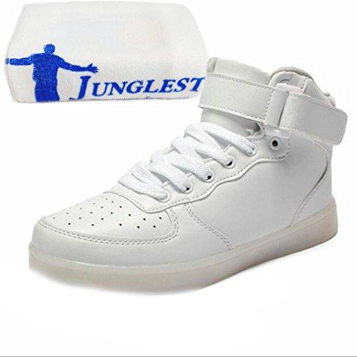 [Presente:piccolo asciugamano]JUNGLEST® 11 colori led luminoso-Scarpe da ginnastica Unisex, in stile Casual, per scarpe-Coppia di luci led, Bianco - bianco
