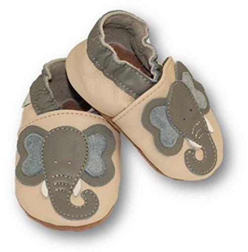 Fiorino Leder-Krabbelschuhe Babyschuhe Lauflern-Schuhe in blau mit gelben Sternen Motiv Größe 25 / 26 Elefant Beige