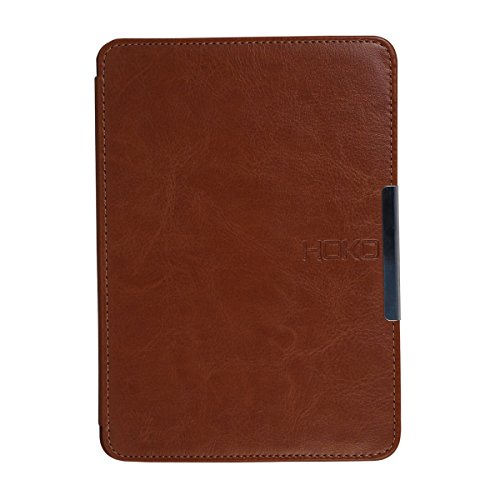 HOKO Brown Slim Leather Flip Case Cover with magnetic closure for Kindle Paperwhite (Auto wake and sleep)