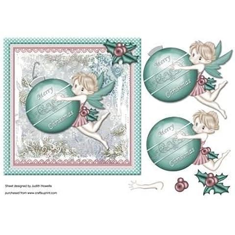 Ornamento de la Navidad de hadas con el frente de la tarjeta por Judith Mary Howells
