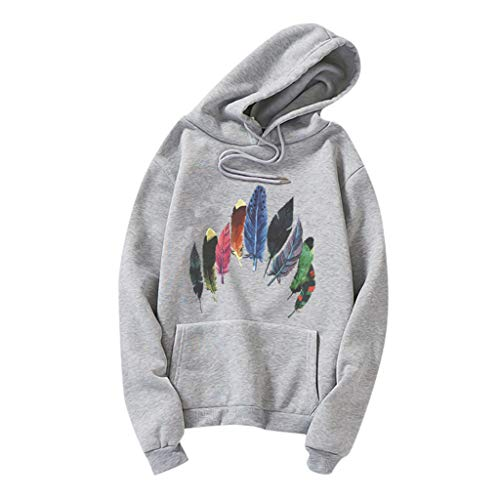 DOFENG Damen T Shirt Bluse Sweatshirt Damen Lange Ärmel Mode Locker Feder Drucken Lässig O Hals Kapuzenpullover Oberteil Tops (Grau,...