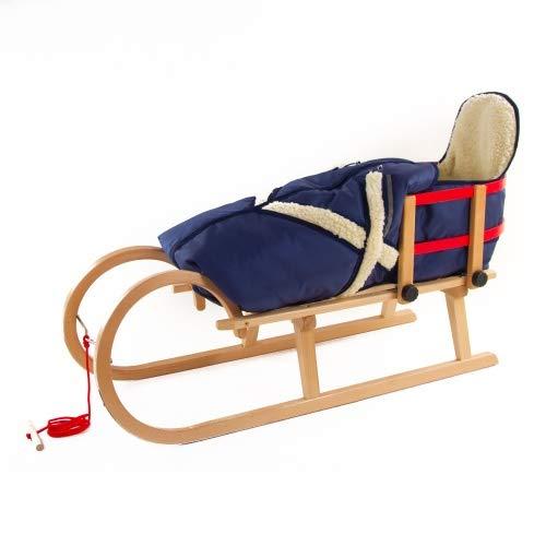 Pinolino Hörnerschlitten Schlitten aus Holz mit Zugseil, Rückenlehne & Fußsack Farbe blau