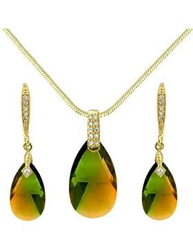 Besonderes retro grün braunes Schmuckset in Tropfenform - Halskete mit Anhänger und passende Ohrringe mit 18K...