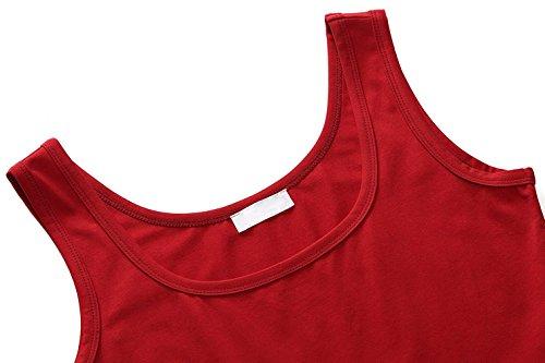 Damen Ärmelloses Einfarbig Strandkleid Sommerkleid Tank Kleid Ausgestelltes Trägerkleid Knielang Rote