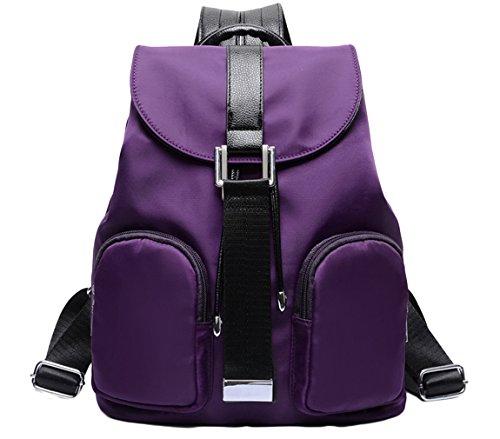 La Vogue Sac à Dos Mode Femme Fille Nylon Loisir Scolaire Backpack Cartable Pratique Voyage (Violet)
