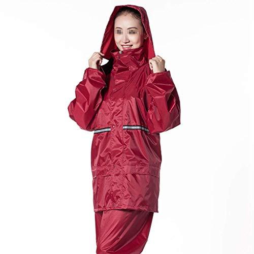 Giow Erwachsene wasserdichte Jacke Set - Double Thick Raincoat Komfortable atmungsaktive Sicherheit Reflexstreifen Rainy Day Out Reiten Lila - Kontur-bund