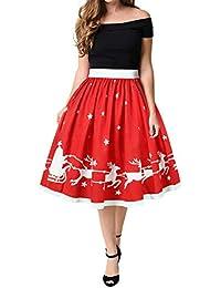 Kolylong Mini Jupe Femme Taille Haute Élastique Deguisement Rouge de Noel  Retro Chic Costume Jupe de 83d47ace1f69