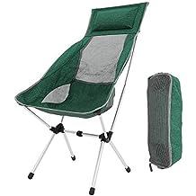 Silla Plegable Camping, Portátil Reclinable Silla Camping Aluminio Ligera Comoda Silla de Camping Set con Bolsa para Easy Camping / Senderismo / Viaje ...