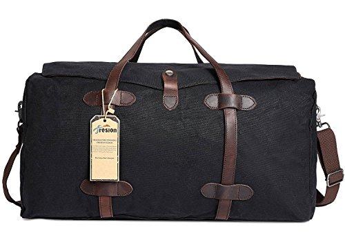Reisetaschen Canvas Daypacks, Weekender Tasche Retro Umhängetasche Herren Handgepäck Männer Reisetaschen Damen Tote Handtasche für Den Kurzurlaub(Schwarz) (Tote Canvas Weekender)