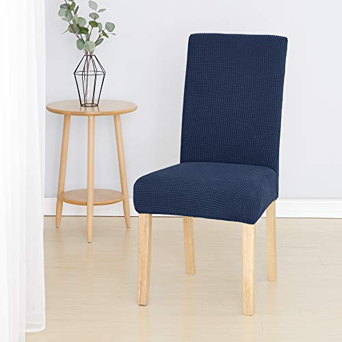 Umi. Essentials Coprisedie con schienale Elasticizzato Fodere per Sedie Set di 4 Pezzi Blu Navy 45x45x60cm