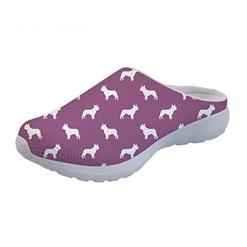 Flats Sandals Women Summer Cute Boston Terrier Print Casual Beach Sandals for Girls Breathable Mesh Shoes Women 2019 HM9295CA 39