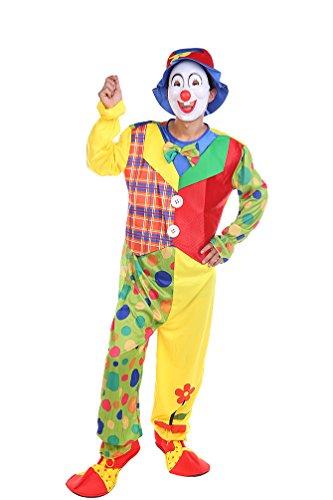 NiSeng Clownkostüm Tupfen erwachsene Clownanzug Jumpsuit Horror Halloweenclown Cosplay Kostüme Horrorclown für Herren Mehrfarbig (Horrorclown Kostüme)