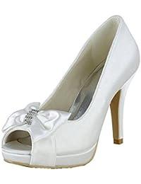 Kevin Fashion mz1257 Ladies Peep Toe Stiletto satén novia boda formal fiesta noche Prom sandalias